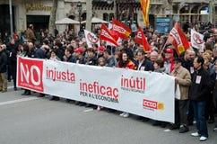 19F - o mayor uniões organiza o protesto maciço na barra Imagem de Stock Royalty Free