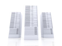 19inch Server towers. 3D rendered Illustration. Isolated on white stock illustration