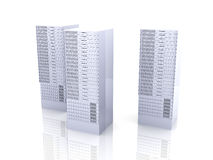 19inch Server towers. 3D rendered Illustration. Isolated on white vector illustration
