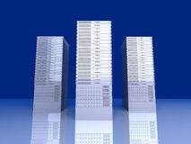 19inch Server towers. 3D rendered Illustration.19inch Server towers stock illustration