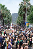 19J - Demonstratie in Barcelona, Spanje Stock Foto