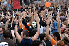 19J - Demonstratie in Barcelona, Spanje Royalty-vrije Stock Foto's
