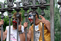 19J - Demonstration in Barcelona, Spanien Lizenzfreies Stockbild