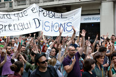 19J - Demonstration in Barcelona, Spanien Stockbilder