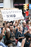 19J - Demonstration in Barcelona, Spanien Lizenzfreie Stockfotos