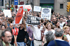 19J - Demonstration in Barcelona, Spanien Lizenzfreie Stockbilder