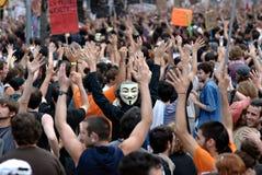 19J - Demonstration in Barcelona, Spanien Lizenzfreie Stockfotos