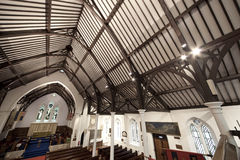 19th century army church. Wide angle shot of 19th century church interior Royalty Free Stock Photos