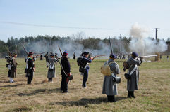 19th century battle reenactment Stock Images