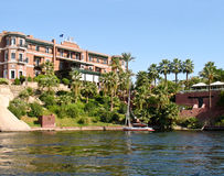 19th century hotel at Aswan, Egypt. 19th Century hotel by the Nile, at Aswan, Egypt royalty free stock photography
