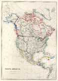 19th Century Map of North America. Vintage map of North America, Alaska as Russian Territory, printed in 1850 Royalty Free Stock Image