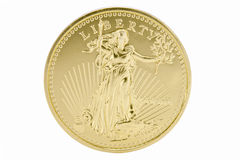 1oz Solid Gold 50 Dollar Coin - USA. The symbol of Liberty featured on an isolated 1oz Solid Gold 50 Dollar Coin - USA Royalty Free Stock Photography