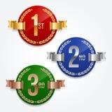 1r; 2do; 3ro emblemas de las concesiones Fotos de archivo libres de regalías