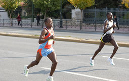 1r, 2do, maratón 2008 de Atenas Fotos de archivo