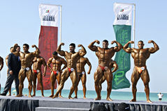 1r Campeonato de DUBAI de la ZAMBULLIDA del CIELO de la playa Foto de archivo
