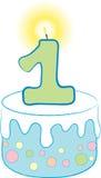 1r Torta azul del cumpleaños Imagen de archivo libre de regalías