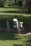 1s 7905 γυναίκα ανάγνωσης πάρκων Στοκ φωτογραφία με δικαίωμα ελεύθερης χρήσης