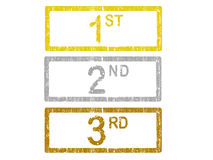 1st 2nd and 3rd. 3 Grunge Office Stamp with the words 1st, 2nd and 3rd in a grunge splattered text vector illustration