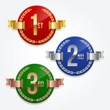 1st; 2nd; 3rd awards emblems Royalty Free Stock Photos