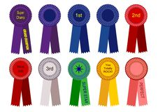 1st, 2nd, and 3rd Place Ribbons and More Vector. Vector Award Ribbons - 1st, 2nd, 3rd, plus sayings such as Grand Champion, Superstar, Nice Job, You Totally Rock royalty free illustration