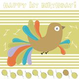 1st anniversary card. With colorful bird Stock Image