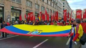 1st av kan, manifestionen av den italienska kommunistpartiet Royaltyfri Bild
