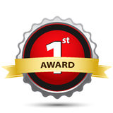 1st award sign. Illustration of 1st award sign on white background Royalty Free Stock Images