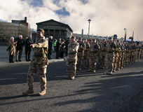 1st battalion Irish Guards. On a march after returning from a tour of duty in Iraq Royalty Free Stock Image