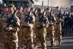 1st battalion Irish Guards. On a march after returning from a tour of duty in Iraq Royalty Free Stock Photography