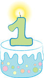 1st Birthday Blue Cake. This festive image can be used to celebrate a child's 1st Birthday stock illustration
