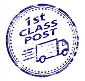 1st Class Post Rubber Stamp. Rubber Stamp illustration showing 1st Class Post text stock illustration