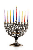 1st day of Chanukah. Chanukah Menorah. 1st day of Chanukah. XXL Royalty Free Stock Photo