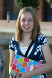 1st day of school. Teenage girl ready for the first day of school royalty free stock images