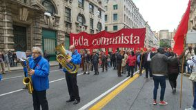 1st mogą, manifestion Włoska partia komunistyczna Zdjęcia Stock