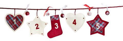 1st part of advent calendar. #1 - #5 first part of advent calendar isolated on white background Stock Image