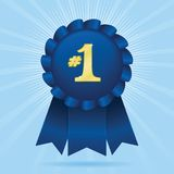 1st Place. Blue ribbon with #1 in sparkling gold; file contains unexpanded blends and clipping path Vector Illustration