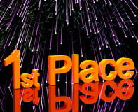 1st Place Word And Fireworks. To Show Winning And Victories Stock Images