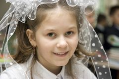 1st schoolgirl september Royaltyfri Fotografi