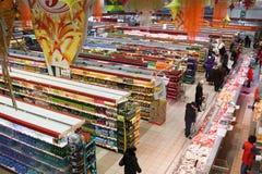 1st supermarkt van Ekaterinburg, Rusland Stock Foto's