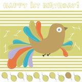 1st verjaardagskaart Stock Afbeelding