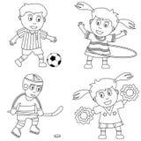 2个上色孩子体育运动 免版税图库摄影
