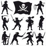 2个乘员组海盗被设置的剪影 免版税库存照片