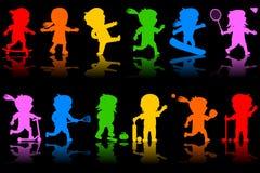 2个五颜六色的孩子剪影 向量例证