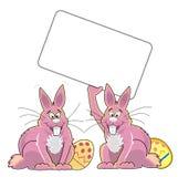 2个兔宝宝复活节 库存图片