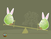 2个兔宝宝字符耳朵复活节彩蛋 库存照片