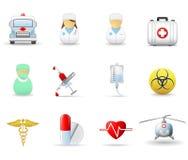 2个关心健康图标医疗零件 免版税图库摄影