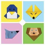 2个动物顶头origami 向量例证