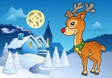 2个圣诞节室外驯鹿年轻人 库存图片