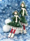 2个圣诞节小的结构树二 免版税库存照片