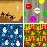 2个圣诞节无缝的瓦片 免版税库存图片